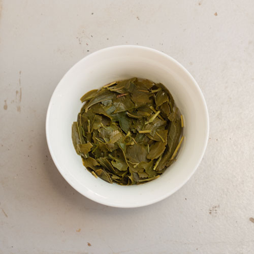 Teeblätter nach dem Aufguss